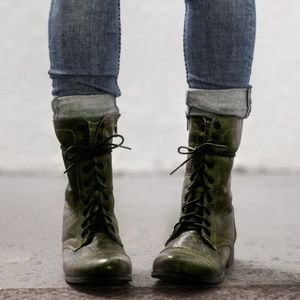 Steve Madden Dark green Troopa leather Combat Boot